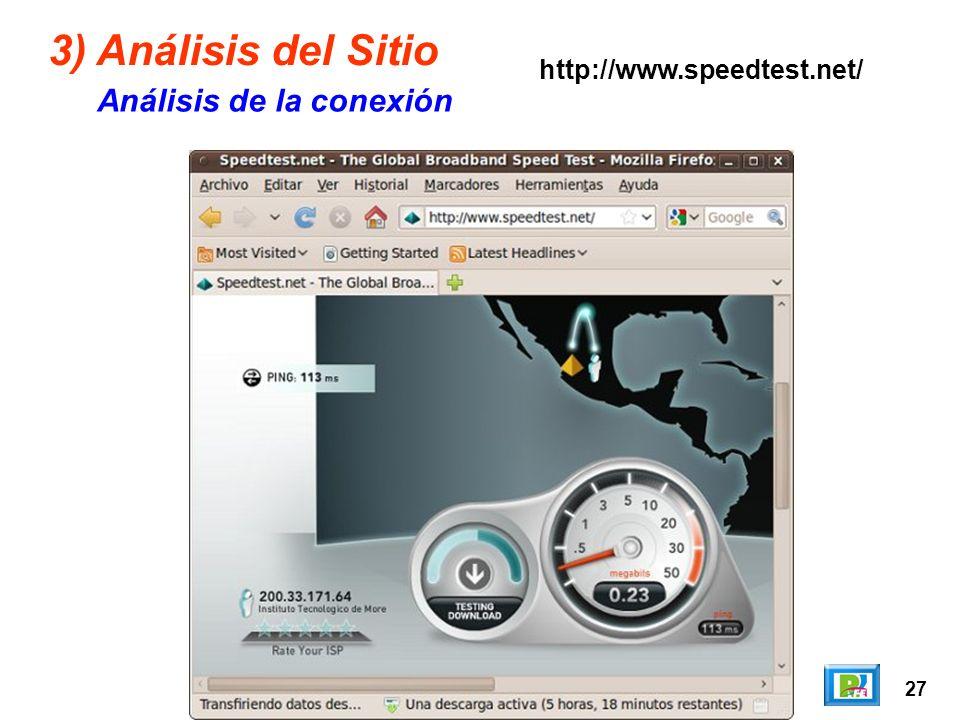27 3) Análisis del Sitio Análisis de la conexión http://www.speedtest.net/
