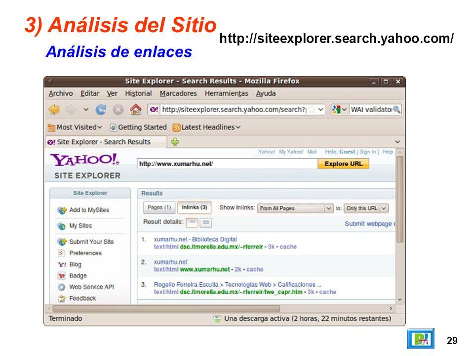 29 3) Análisis del Sitio Análisis de enlaces http://siteexplorer.search.yahoo.com/