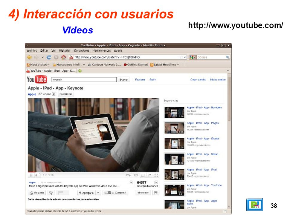 38 4) Interacción con usuarios Videos http://www.youtube.com/