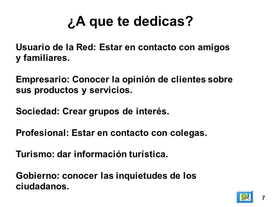 7 Usuario de la Red: Estar en contacto con amigos y familiares.