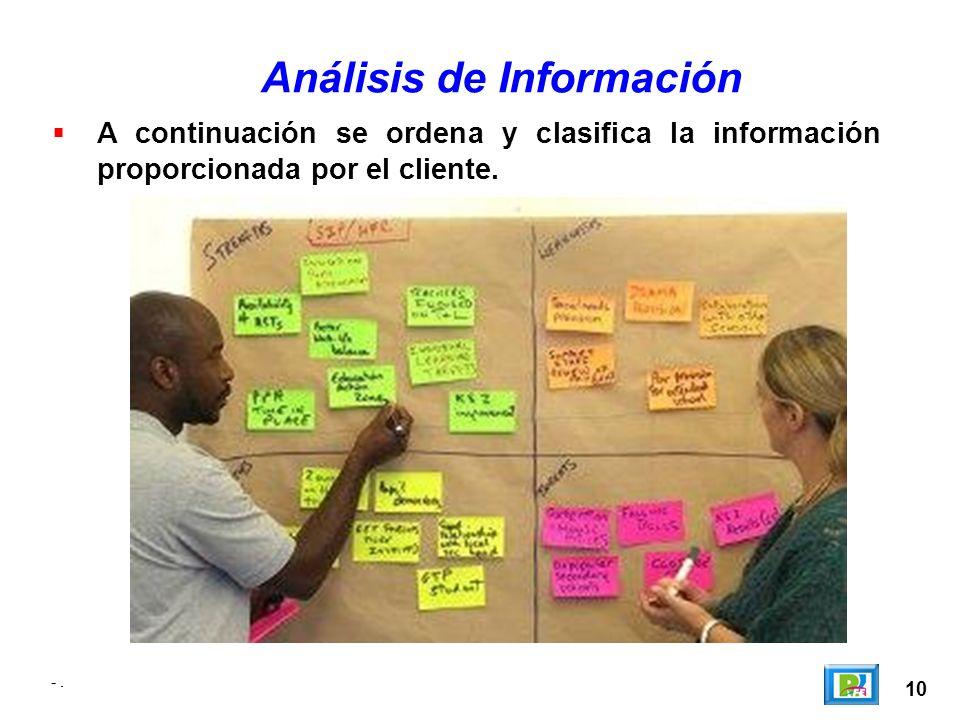 10 -. Análisis de Información A continuación se ordena y clasifica la información proporcionada por el cliente.