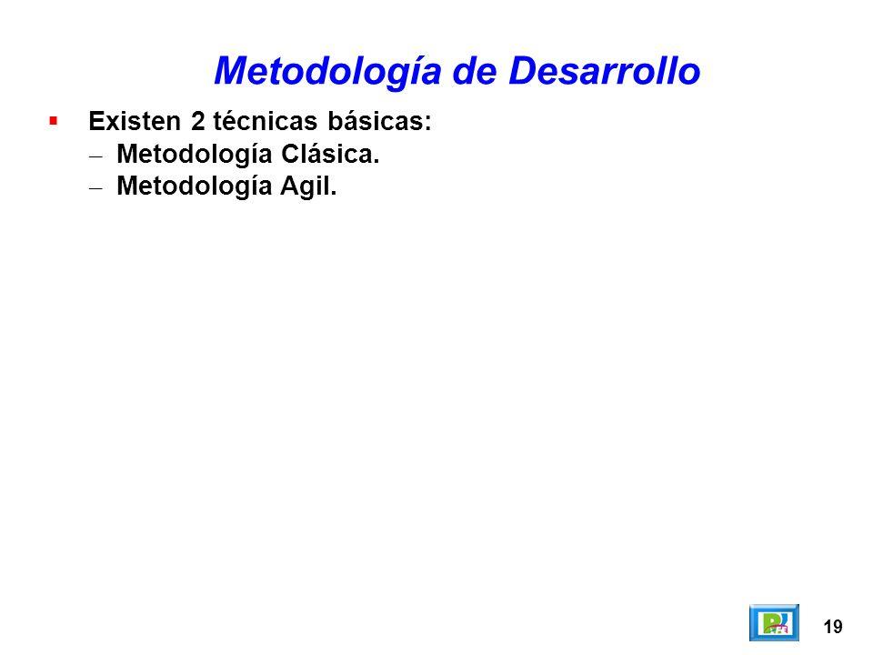 19 Existen 2 técnicas básicas: – Metodología Clásica. – Metodología Agil. Metodología de Desarrollo