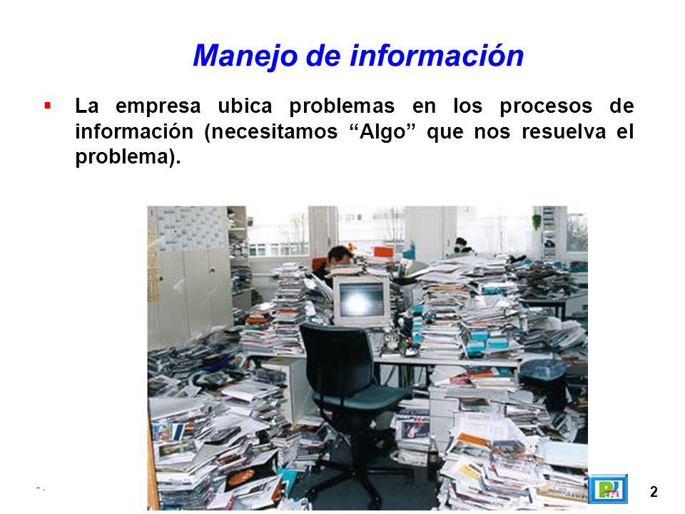 2 Manejo de información La empresa ubica problemas en los procesos de información (necesitamos Algo que nos resuelva el problema). -.