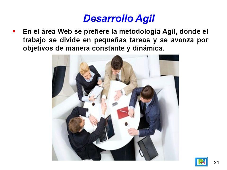 21 En el área Web se prefiere la metodología Agil, donde el trabajo se divide en pequeñas tareas y se avanza por objetivos de manera constante y dinám