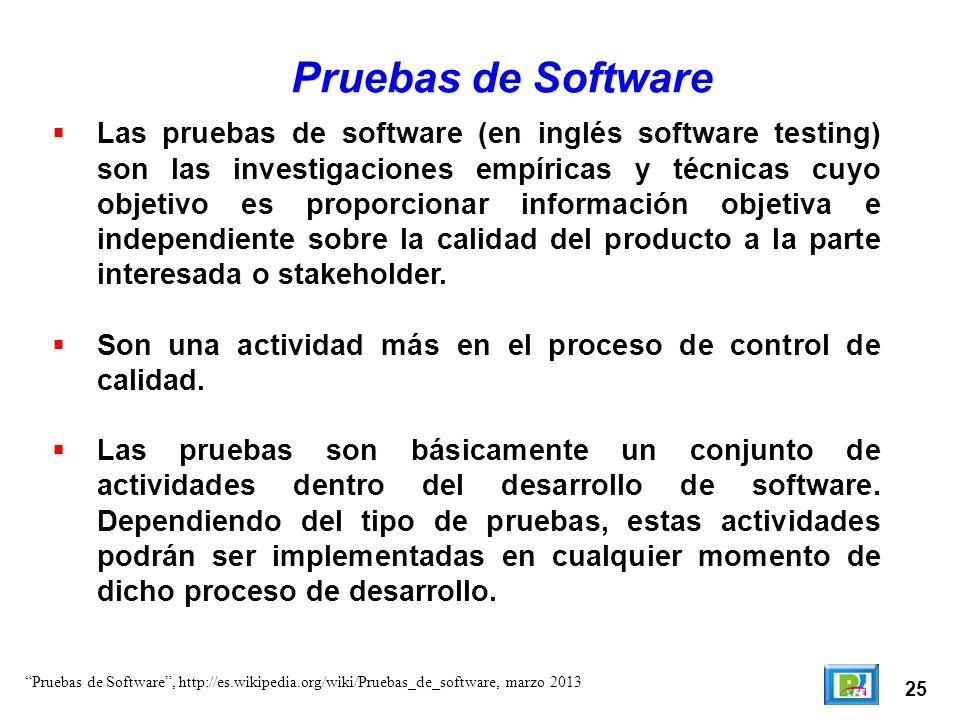 25 Las pruebas de software (en inglés software testing) son las investigaciones empíricas y técnicas cuyo objetivo es proporcionar información objetiv