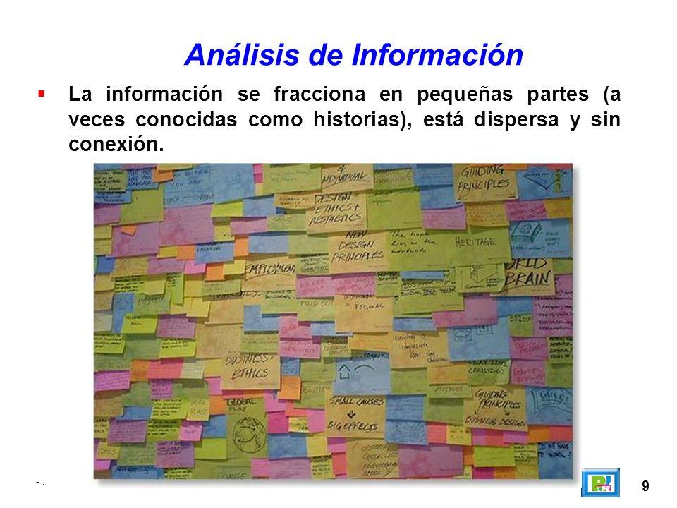 9 -. Análisis de Información La información se fracciona en pequeñas partes (a veces conocidas como historias), está dispersa y sin conexión. -.