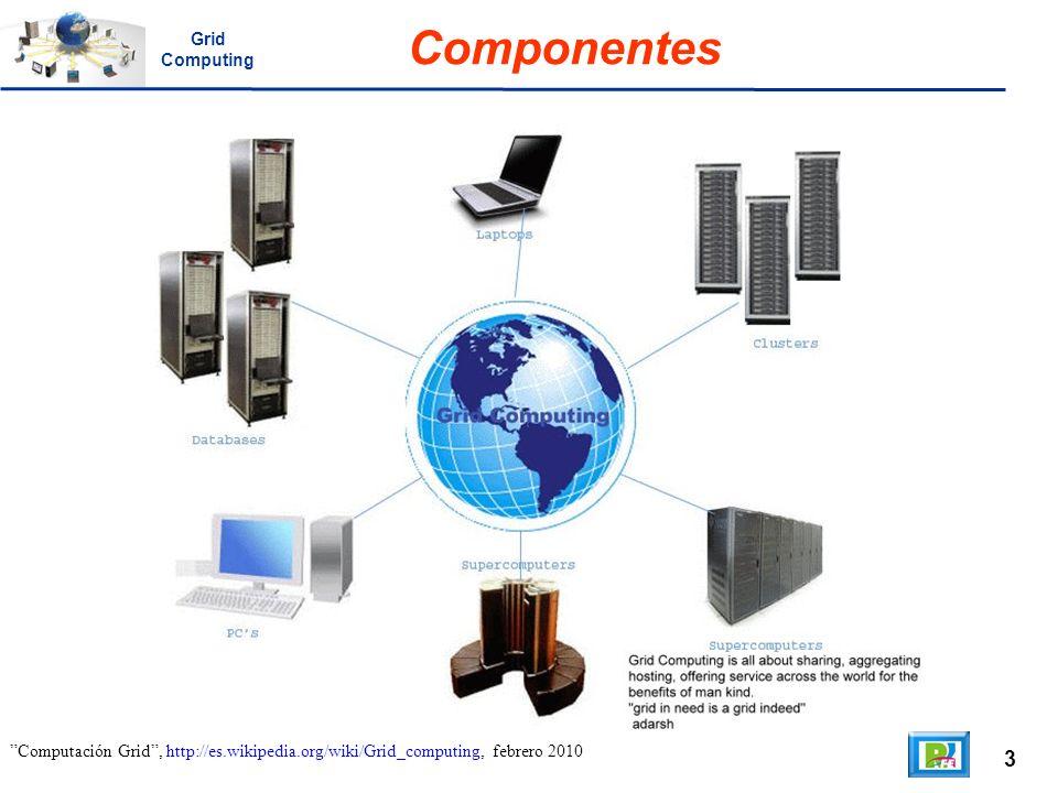 4 Computación Grid, http://es.wikipedia.org/wiki/Grid_computing, febrero 2010 Objetivo Puesto que la colaboración entre instituciones envuelve un intercambio de datos, o de tiempo de computación, el propósito del grid es facilitar la integración de recursos computacionales.
