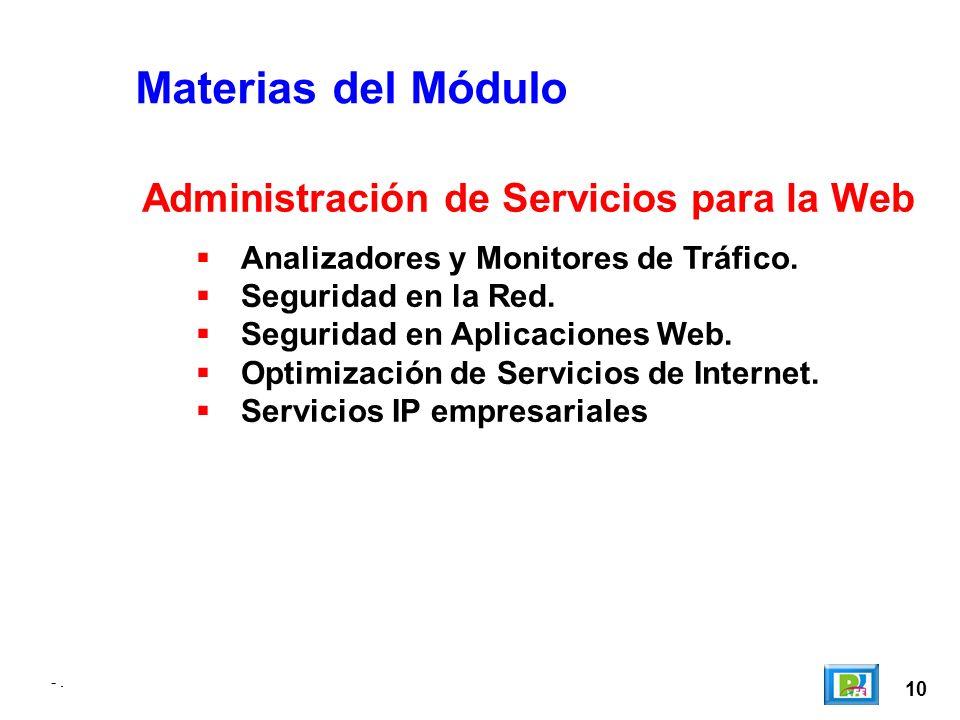 -. 10 -. Materias del Módulo Analizadores y Monitores de Tráfico.