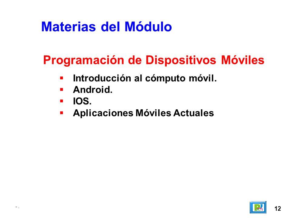 -. 12 -. Materias del Módulo Introducción al cómputo móvil.