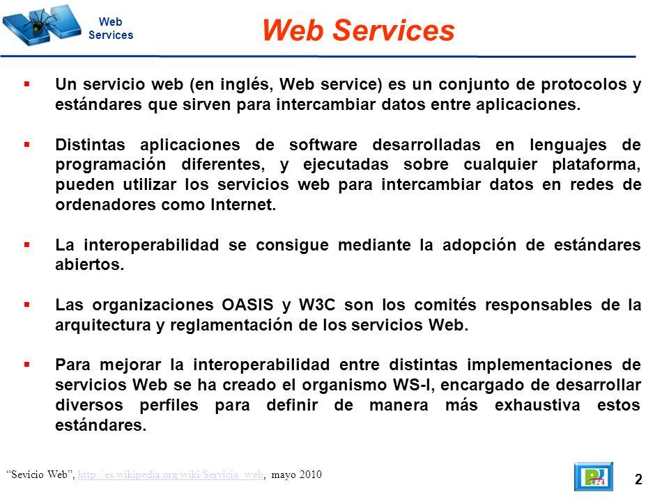 2 Sevicio Web, http://es.wikipedia.org/wiki/Servicio_web, mayo 2010http://es.wikipedia.org/wiki/Servicio_web Web Services Web Services Un servicio web (en inglés, Web service) es un conjunto de protocolos y estándares que sirven para intercambiar datos entre aplicaciones.