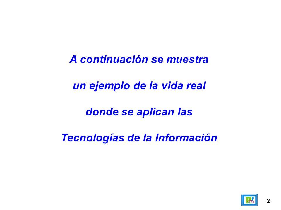 2 A continuación se muestra un ejemplo de la vida real donde se aplican las Tecnologías de la Información