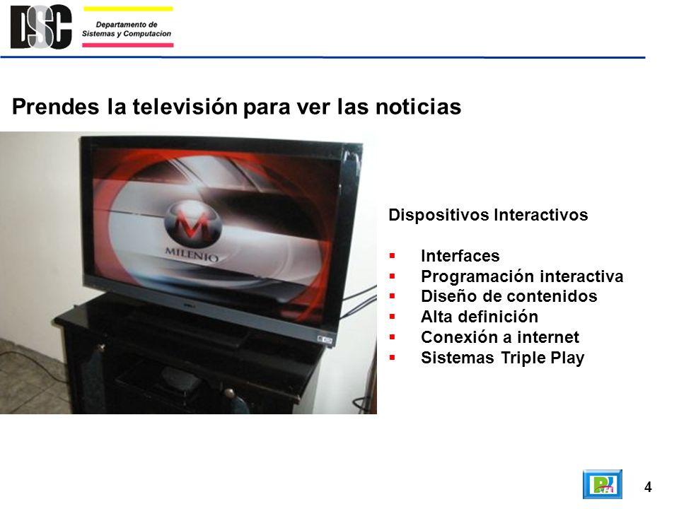 4 Prendes la televisión para ver las noticias Dispositivos Interactivos Interfaces Programación interactiva Diseño de contenidos Alta definición Conex
