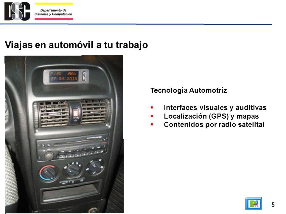 5 Viajas en automóvil a tu trabajo Tecnología Automotríz Interfaces visuales y auditivas Localización (GPS) y mapas Contenidos por radio satelital