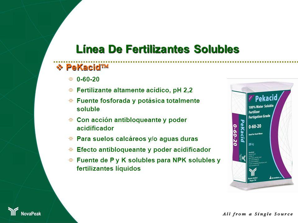 PeKacid PeKacid 0-60-20 Fertilizante altamente acídico, pH 2,2 Fuente fosforada y potásica totalmente soluble Con acción antibloqueante y poder acidif