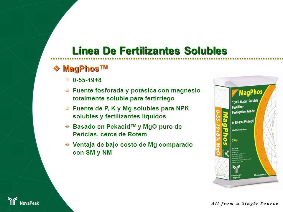 MagPhos TM MagPhos TM 0-55-19+8 Fuente fosforada y potásica con magnesio totalmente soluble para fertirriego Fuente de P, K y Mg solubles para NPK sol