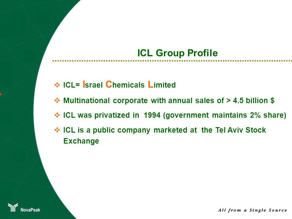 Importante presencia en los mercados mundiales: Perfil de ICL Group 35 % de la producción de bromo en Israel 11% de la producción mundial de potasio 9% del consumo mundial de magnesio en el mundo occidental 3 % de la producción mundial de roca fosfórica Uno de los manufacturadores y proveedores de fósforo y productos fosforados más integrados en el mundo Proveedor líder de fertilizantes en Europa Importante presencia en numerosos segmentos de productos químicos de especialidad En Israel, ICL es el proveedor líder de fertilizantes Total de ventas en 2009 ~ $ 4,500 millones