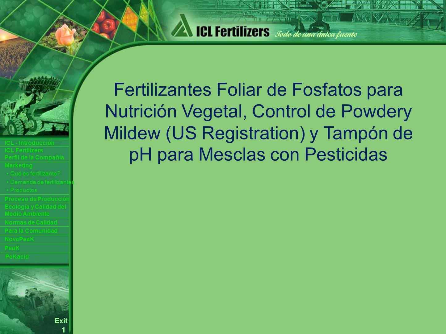 1 Exit Todo de una única fuente ICL Fertilizers Perfil de la Compañía ICL - Introducción Productos Para la Comunidad Ecología y Calidad del Medio Ambiente Normas de Calidad Marketing Proceso de Producción Demanda de fertilizantes Qué es fertilizante.