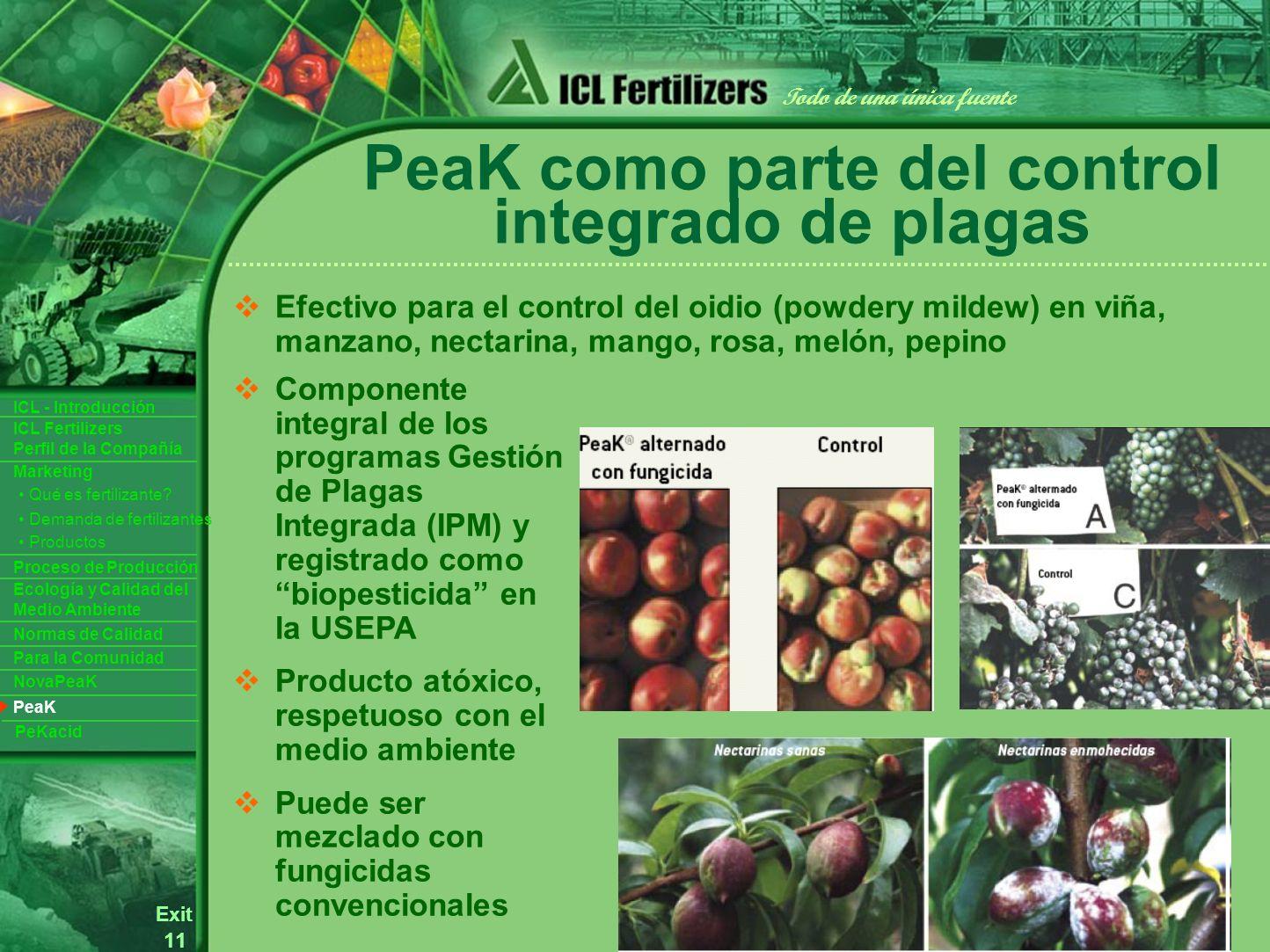 11 Exit Todo de una única fuente ICL Fertilizers Perfil de la Compañía ICL - Introducción Productos Para la Comunidad Ecología y Calidad del Medio Ambiente Normas de Calidad Marketing Proceso de Producción Demanda de fertilizantes Qué es fertilizante.