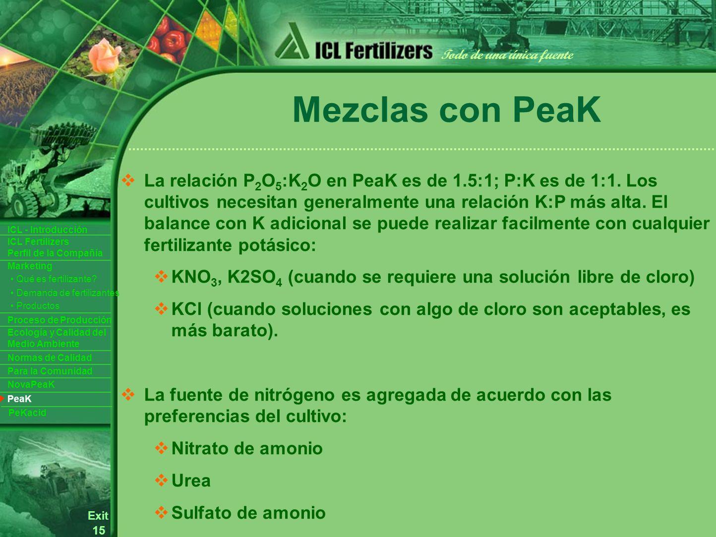 15 Exit Todo de una única fuente ICL Fertilizers Perfil de la Compañía ICL - Introducción Productos Para la Comunidad Ecología y Calidad del Medio Ambiente Normas de Calidad Marketing Proceso de Producción Demanda de fertilizantes Qué es fertilizante.