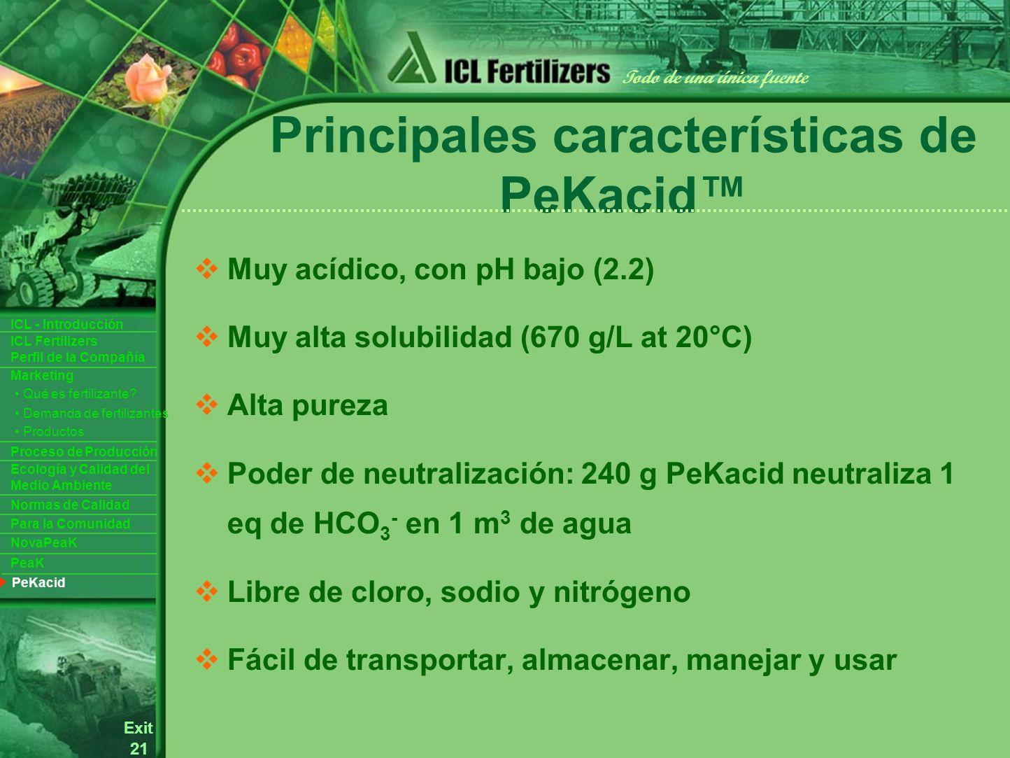 21 Exit Todo de una única fuente ICL Fertilizers Perfil de la Compañía ICL - Introducción Productos Para la Comunidad Ecología y Calidad del Medio Ambiente Normas de Calidad Marketing Proceso de Producción Demanda de fertilizantes Qué es fertilizante.