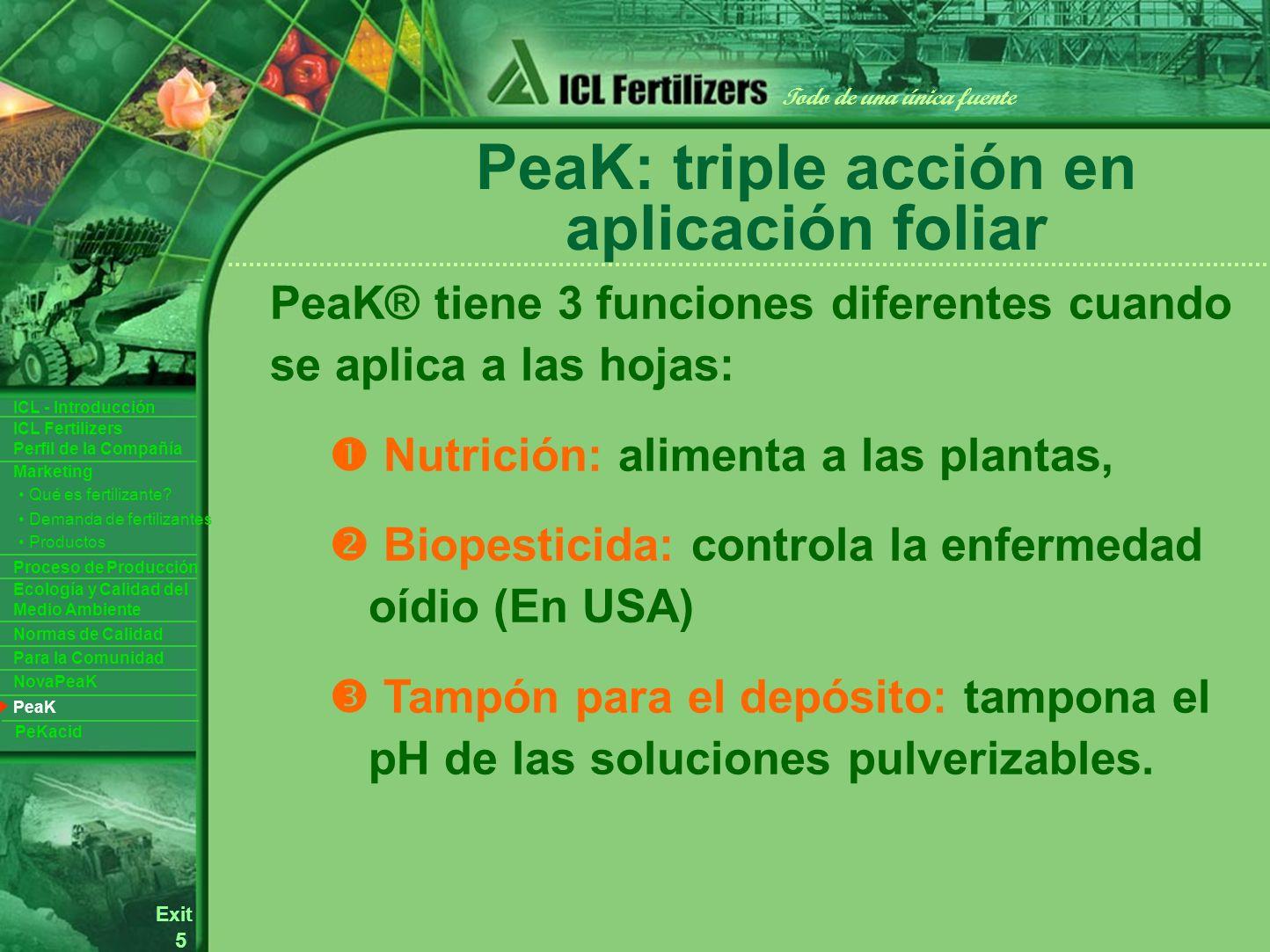 5 Exit Todo de una única fuente ICL Fertilizers Perfil de la Compañía ICL - Introducción Productos Para la Comunidad Ecología y Calidad del Medio Ambiente Normas de Calidad Marketing Proceso de Producción Demanda de fertilizantes Qué es fertilizante.