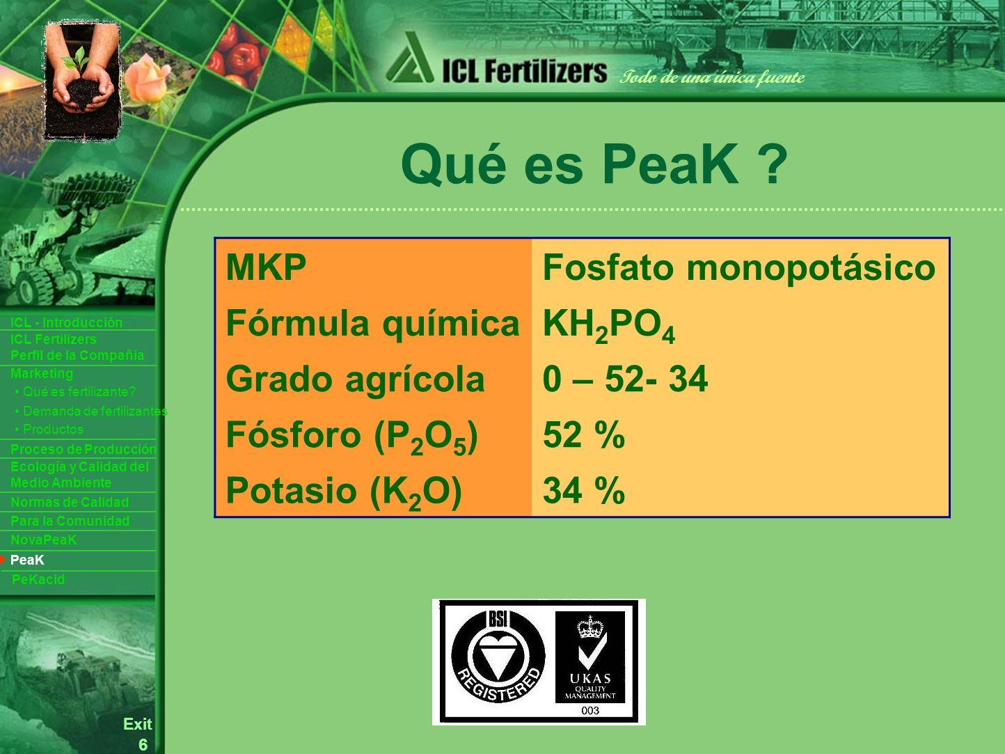 6 Exit Todo de una única fuente ICL Fertilizers Perfil de la Compañía ICL - Introducción Productos Para la Comunidad Ecología y Calidad del Medio Ambiente Normas de Calidad Marketing Proceso de Producción Demanda de fertilizantes Qué es fertilizante.