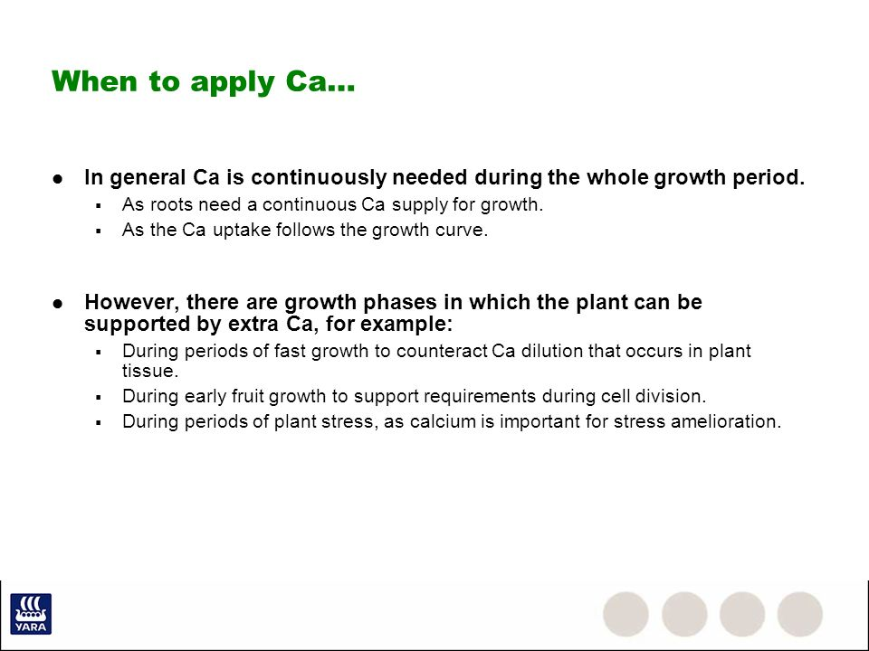 When to apply Ca… In general Ca is continuously needed during the whole growth period. As roots need a continuous Ca supply for growth. As the Ca upta