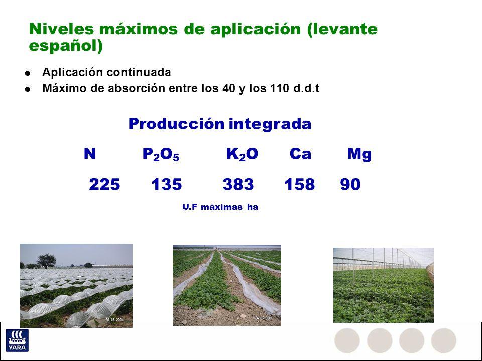 Niveles máximos de aplicación (levante español) Aplicación continuada Máximo de absorción entre los 40 y los 110 d.d.t Producción integrada N P 2 O 5