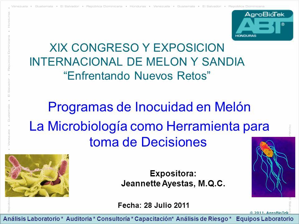 © 2011. AgroBioTek XIX CONGRESO Y EXPOSICION INTERNACIONAL DE MELON Y SANDIA Enfrentando Nuevos Retos Programas de Inocuidad en Melón La Microbiología