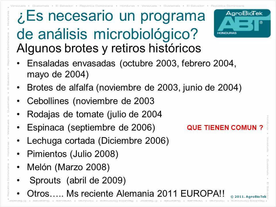 © 2011. AgroBioTek ¿Es necesario un programa de análisis microbiológico? Algunos brotes y retiros históricos Ensaladas envasadas (octubre 2003, febrer