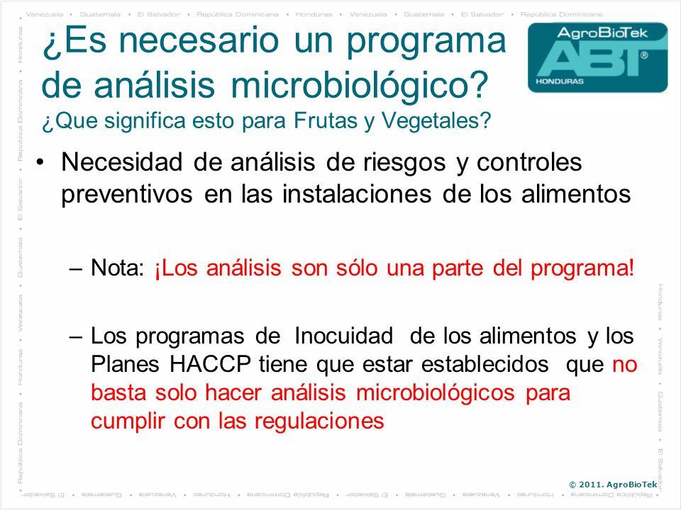 © 2011. AgroBioTek ¿Es necesario un programa de análisis microbiológico? ¿Que significa esto para Frutas y Vegetales? Necesidad de análisis de riesgos