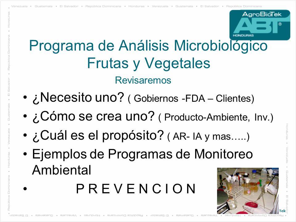 © 2011. AgroBioTek Programa de Análisis Microbiológico Frutas y Vegetales Revisaremos ¿Necesito uno? ( Gobiernos -FDA – Clientes) ¿Cómo se crea uno? (