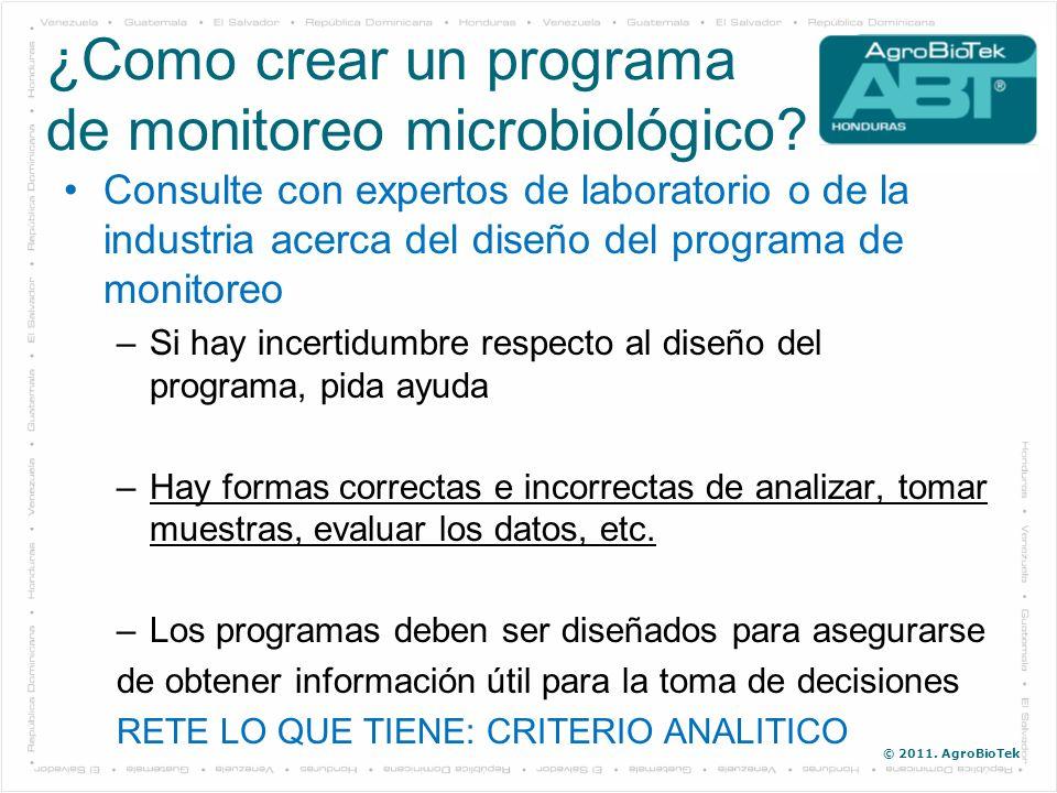 © 2011. AgroBioTek Consulte con expertos de laboratorio o de la industria acerca del diseño del programa de monitoreo –Si hay incertidumbre respecto a
