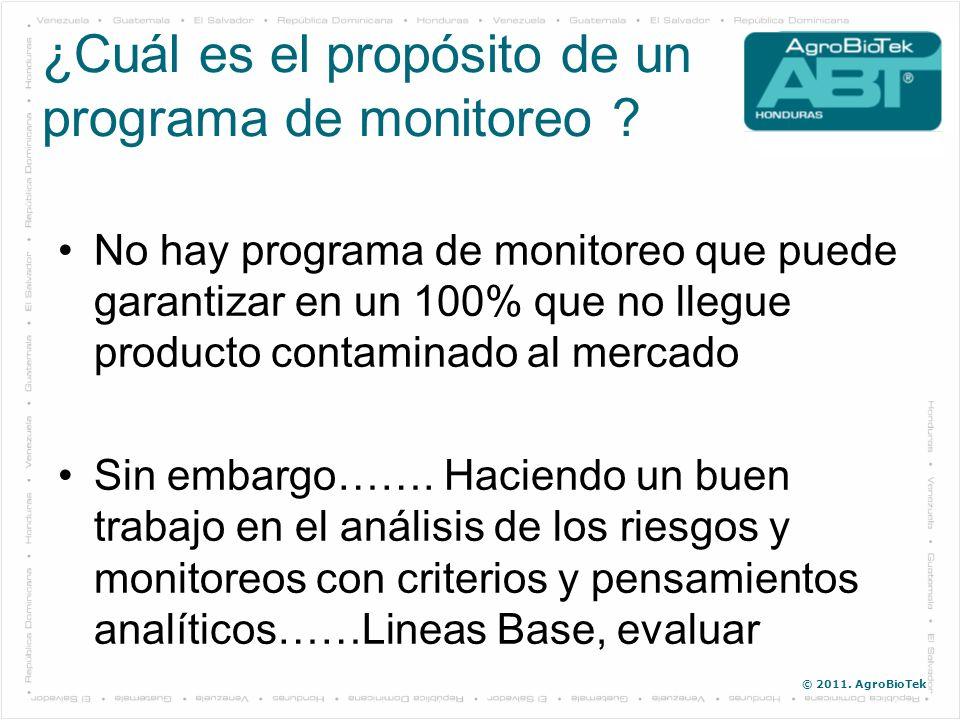 © 2011. AgroBioTek No hay programa de monitoreo que puede garantizar en un 100% que no llegue producto contaminado al mercado Sin embargo……. Haciendo