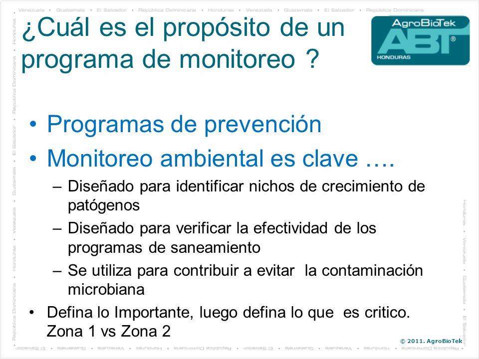 © 2011. AgroBioTek Programas de prevención Monitoreo ambiental es clave …. –Diseñado para identificar nichos de crecimiento de patógenos –Diseñado par