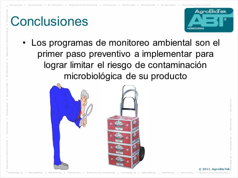© 2011. AgroBioTek Los programas de monitoreo ambiental son el primer paso preventivo a implementar para lograr limitar el riesgo de contaminación mic