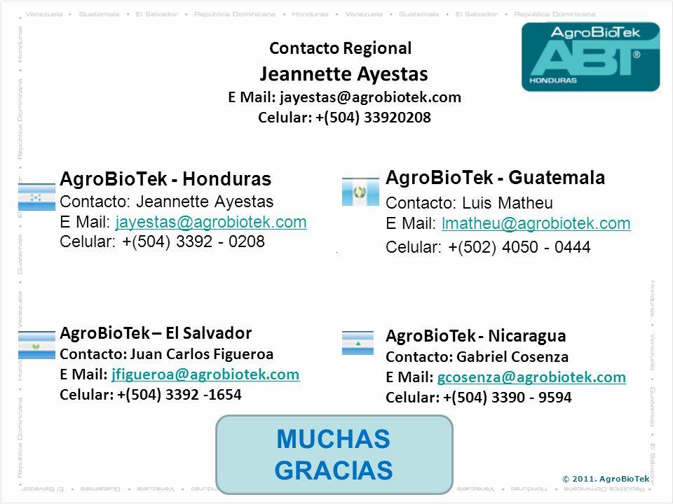 © 2011. AgroBioTek AgroBioTek - Honduras Contacto: Jeannette Ayestas E Mail: jayestas@agrobiotek.com Celular: +(504) 3392 - 0208jayestas@agrobiotek.co