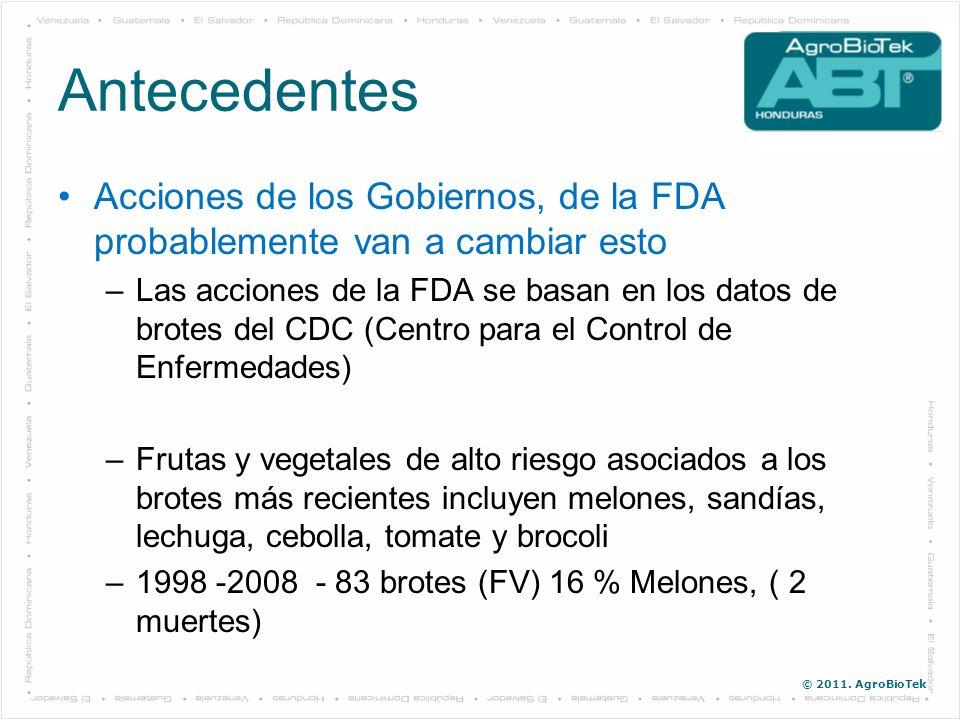 © 2011. AgroBioTek Antecedentes Acciones de los Gobiernos, de la FDA probablemente van a cambiar esto –Las acciones de la FDA se basan en los datos de