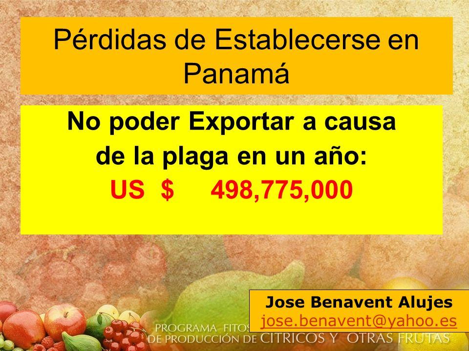 No poder Exportar a causa de la plaga en un año: US $ 498,775,000 Jose Benavent Alujes jose.benavent@yahoo.es Pérdidas de Establecerse en Panamá