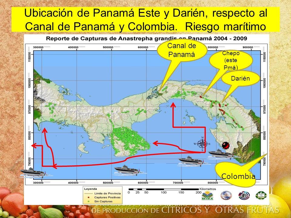Canal de Panamá Chepo (este Pmá ) Darién Colombia Ubicación de Panamá Este y Darién, respecto al Canal de Panamá y Colombia. Riesgo marítimo