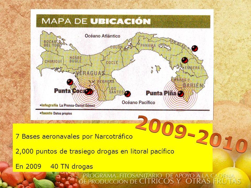 7 Bases aeronavales por Narcotráfico 2,000 puntos de trasiego drogas en litoral pacífico En 2009 40 TN drogas