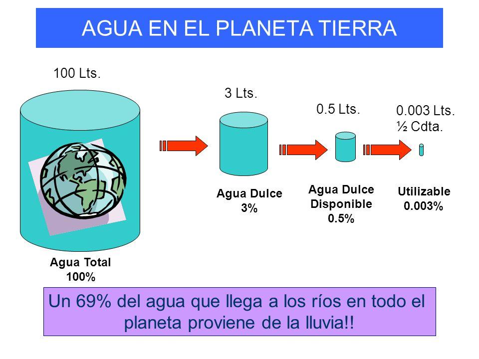 AGUA EN EL PLANETA TIERRA 100 Lts.Agua Total 100% 3 Lts.