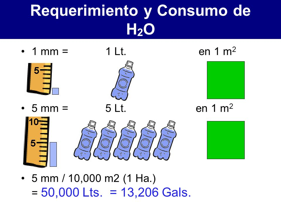 1 mm = 1 Lt.en 1 m 2 5 mm = 5 Lt. en 1 m 2 5 mm / 10,000 m2 (1 Ha.) = 50,000 Lts.