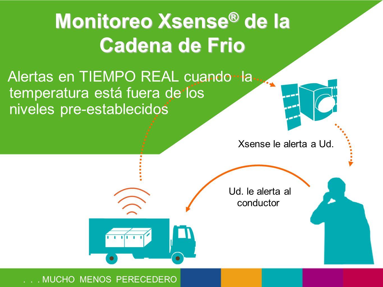 Monitoreo Xsense ® de la Cadena de Frio Xsense le alerta a Ud. Ud. le alerta al conductor Alertas en TIEMPO REAL cuando la temperatura está fuera de l