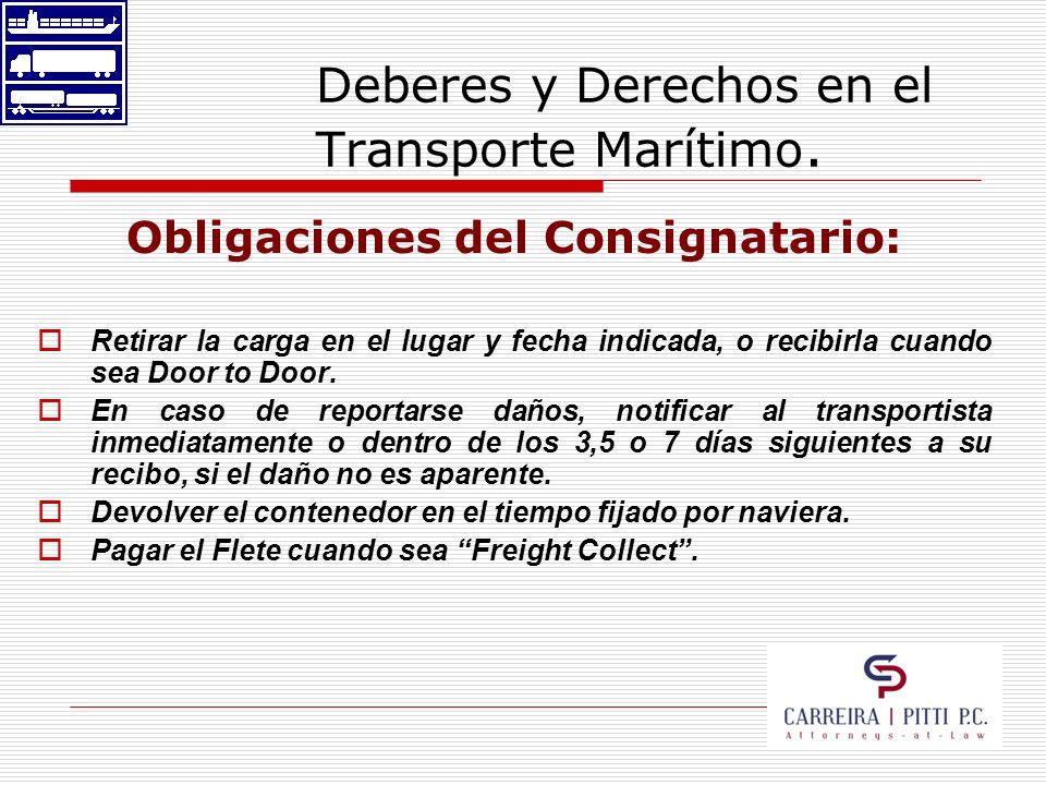 Deberes y Derechos en el Transporte Marítimo. Obligaciones del Consignatario: Retirar la carga en el lugar y fecha indicada, o recibirla cuando sea Do
