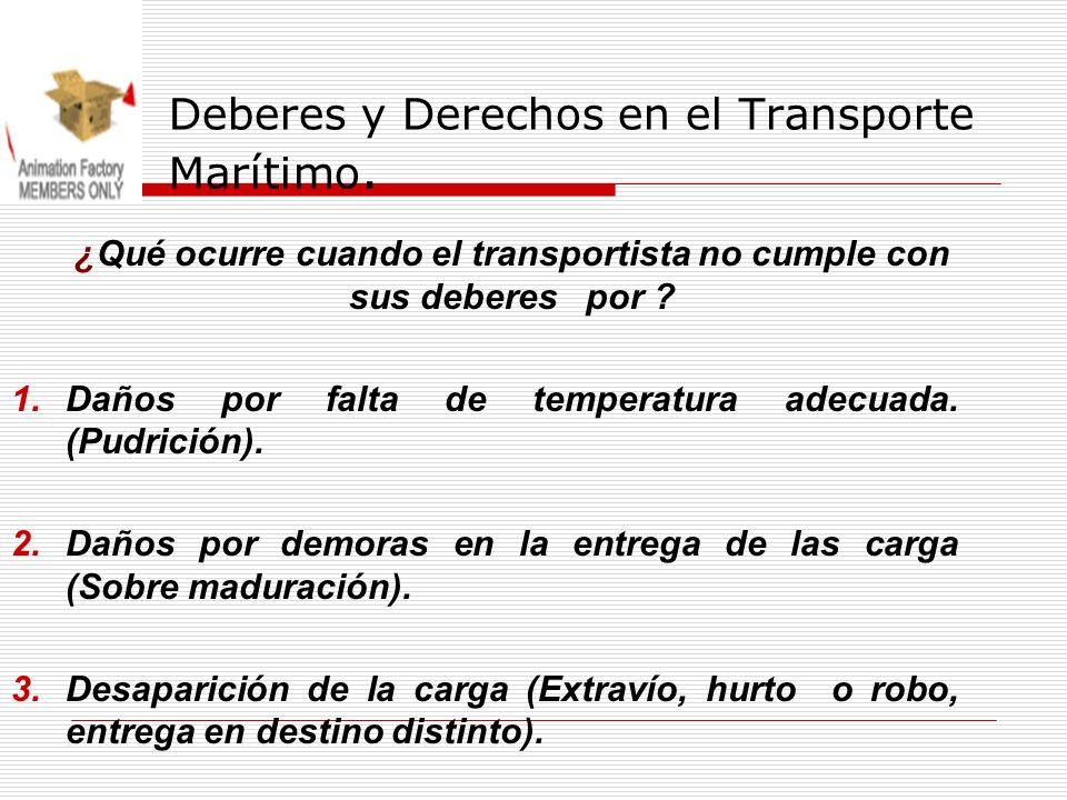 Deberes y Derechos en el Transporte Marítimo. ¿Qué ocurre cuando el transportista no cumple con sus deberes por ? 1.Daños por falta de temperatura ade