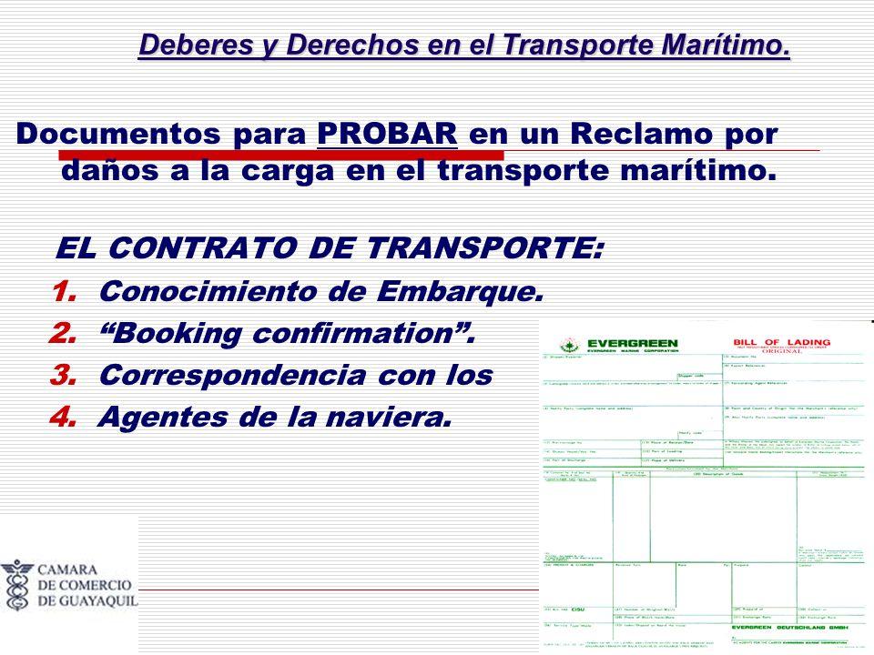 Deberes y Derechos en el Transporte Marítimo. Documentos para PROBAR en un Reclamo por daños a la carga en el transporte marítimo. EL CONTRATO DE TRAN