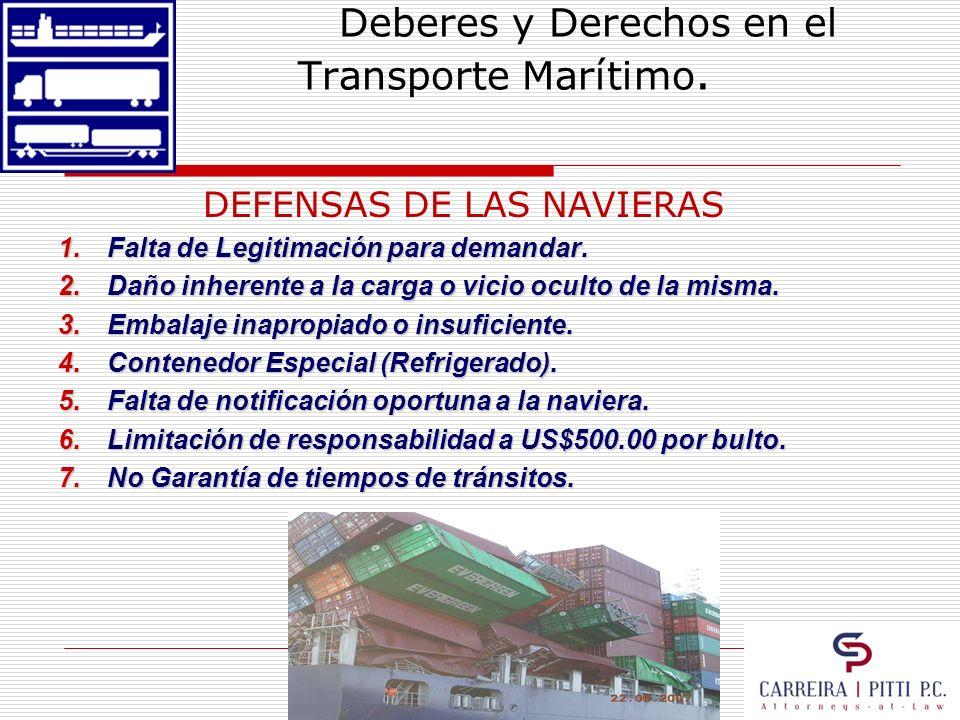 Deberes y Derechos en el Transporte Marítimo. DEFENSAS DE LAS NAVIERAS 1.Falta de Legitimación para demandar. 2.Daño inherente a la carga o vicio ocul