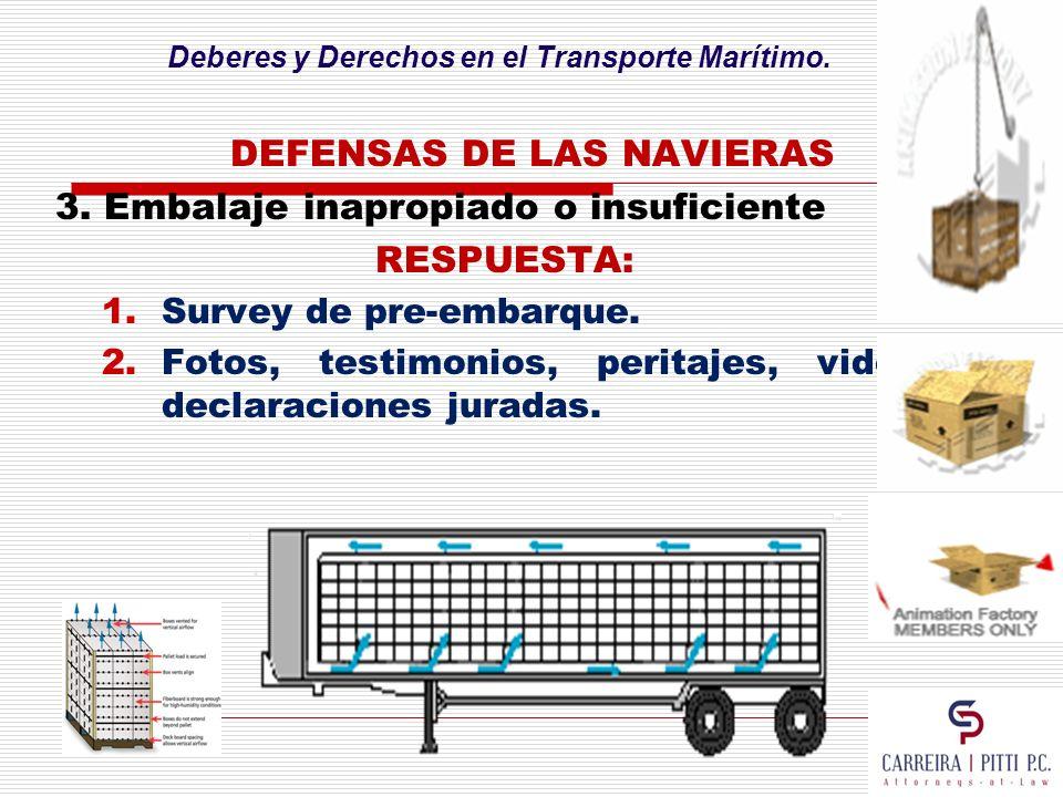 Deberes y Derechos en el Transporte Marítimo. DEFENSAS DE LAS NAVIERAS 3. Embalaje inapropiado o insuficiente RESPUESTA: 1.Survey de pre-embarque. 2.F