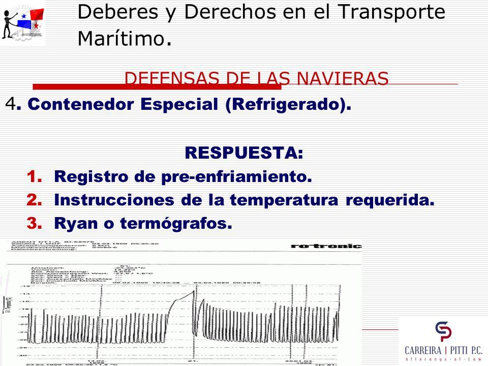 Deberes y Derechos en el Transporte Marítimo. DEFENSAS DE LAS NAVIERAS 4. Contenedor Especial (Refrigerado). RESPUESTA: 1.Registro de pre-enfriamiento